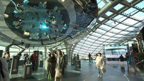 阿斯塔纳,哈萨克斯坦- 2017年6月10日:有未来能量概念未来派屏幕的商展亭子  影视素材