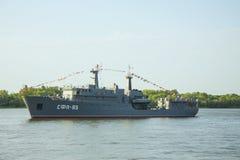 阿斯特拉罕,俄罗斯2018年7月28日:里海小舰队的军舰 免版税库存照片