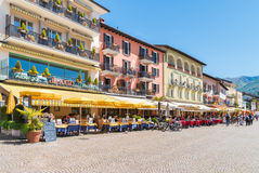 阿斯科纳位于马焦雷湖,提契诺州,瑞士岸  免版税库存图片