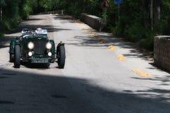 阿斯顿・马丁一辆老赛车的阿尔斯特1934年在集会Mille Miglia 2017 5月19日的著名意大利历史种族1927-1957 库存图片