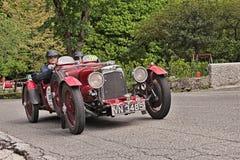 阿斯顿・马丁历史的种族的Mille Miglia国际勒芒 库存照片