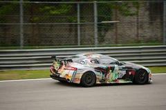 阿斯顿・马丁有利GT4小汽车赛在蒙扎 图库摄影