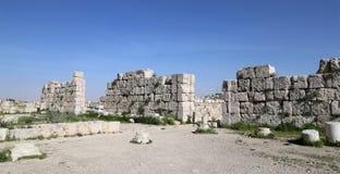 阿曼市地标--老罗马城堡小山,约旦 免版税库存照片