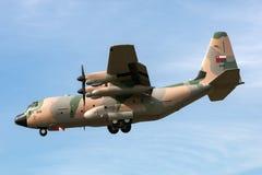 阿曼洛克西德・马丁C-130J赫拉克勒斯军事运输航空器英国皇家空军  免版税库存图片