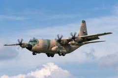 阿曼洛克西德・马丁C-130J赫拉克勒斯军事运输航空器英国皇家空军  库存照片
