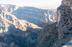 阿曼,沙姆山的大峡谷 免版税库存照片