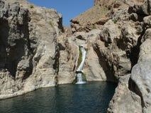 阿曼绿洲瀑布 库存图片
