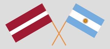阿根廷和拉脱维亚 阿根廷和拉脱维亚旗子 正式颜色 正确比例 向量 库存例证