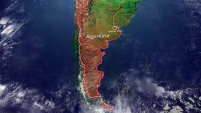 阿根廷和边界地图,南美物理地图、地图与安心和山 向量例证