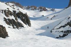 阿根廷山毫华手段滑雪倾斜 免版税库存照片