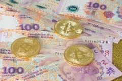 阿根廷金钱和真正货币Bitcoin 库存图片