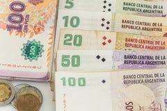阿根廷金钱/比索在白色背景 库存照片