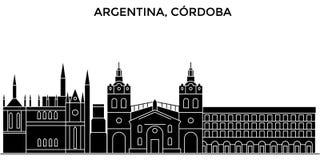 阿根廷,科多巴建筑学传染媒介城市地平线,与地标,大厦的旅行都市风景,隔绝了视域  皇族释放例证