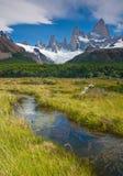 阿根廷fitz glaciares los挂接np roy 库存图片