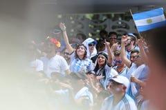 阿根廷人扇动橄榄球 图库摄影