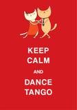 阿根廷探戈滑稽的猫海报 向量例证