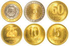 阿根廷比索流通的硬币收集 库存图片