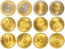 阿根廷比索流通的硬币收集 免版税图库摄影