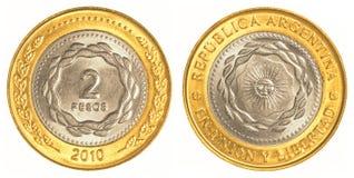 2阿根廷比索硬币 免版税图库摄影