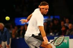 阿根廷的全垒打冠军胡安马丁台尔Potro行动的在法国巴黎银行摊牌第10个周年网球事件期间 图库摄影