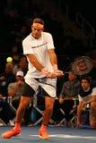 阿根廷的全垒打冠军胡安马丁台尔Potro行动的在法国巴黎银行摊牌第10个周年网球事件期间 免版税库存照片