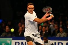 阿根廷的全垒打冠军胡安马丁台尔Potro行动的在法国巴黎银行摊牌第10个周年网球事件期间 库存照片