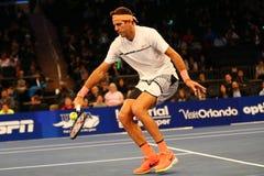 阿根廷的全垒打冠军胡安马丁台尔Potro行动的在法国巴黎银行摊牌第10个周年网球事件期间 免版税库存图片
