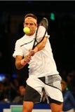 阿根廷的全垒打冠军胡安马丁台尔Potro行动的在法国巴黎银行摊牌第10个周年网球事件期间 免版税图库摄影