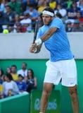 阿根廷的全垒打冠军胡安马丁台尔Potro行动的在他的里约期间2016年奥运会的半决赛 免版税图库摄影