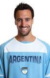 阿根廷足球迷的画象 免版税库存照片