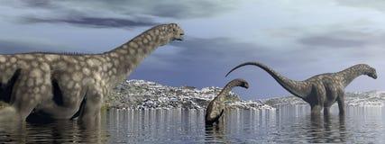 阿根廷龙恐龙家庭- 3D回报 库存图片