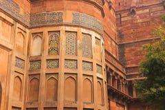 阿格拉,印度,庭院,大厦的元素德里红堡 库存照片