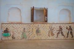 阿梅尔,印度- 2017年9月19日:详细在美丽的琥珀色的堡垒里面的墙壁画在斋浦尔,拉贾斯坦附近 库存图片