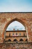 阿比亚泰格拉索Visconti城堡,在1382年修造由在已存在的13世纪设防上的吉安・加莱亚佐・维斯孔蒂 免版税库存图片