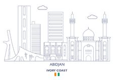 阿比将市地平线,象牙海岸 免版税库存照片