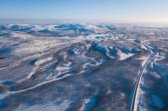 阿比斯库国家公园国家公园,基律纳自治市,拉普兰,北博滕省,瑞典,从寄生虫的射击空中晴朗的冬天视图,与r 库存照片