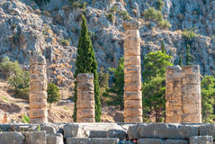 阿波罗寺庙在特尔斐,帕纳塞斯山的,希腊 免版税图库摄影