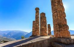 阿波罗寺庙废墟在古老特尔斐 库存照片