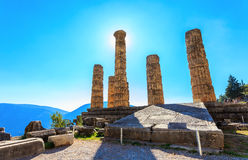 阿波罗寺庙废墟在古老特尔斐 库存图片