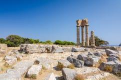 阿波罗废墟风景在罗得岛的 免版税库存图片