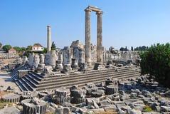 阿波罗教堂的废墟在Didyma,土耳其 库存照片