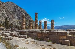 阿波罗教堂-特尔斐-希腊 免版税库存照片