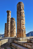 阿波罗特尔斐希腊寺庙 免版税库存照片