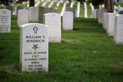 阿灵顿国家公墓坟茔 库存图片