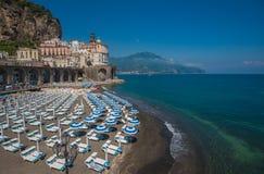 阿特拉尼,阿马尔菲海岸,意大利全景  库存图片