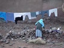 阿特拉斯山脉的巴巴里人村庄 摩洛哥 库存照片