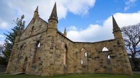 阿瑟港塔斯马尼亚岛证明有罪教会废墟 库存图片