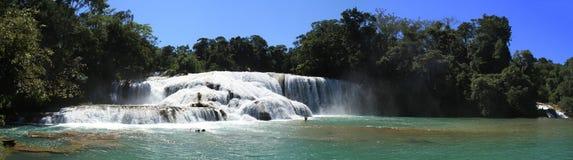 阿瓜Azul全景,恰帕斯州,墨西哥 免版税库存图片