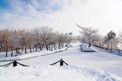 阿穆尔河的堤防在哈巴罗夫斯克,俄罗斯 库存图片