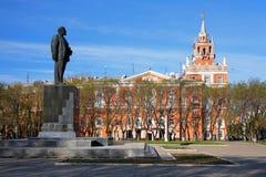 阿穆尔河komsomolsk列宁纪念碑 库存照片